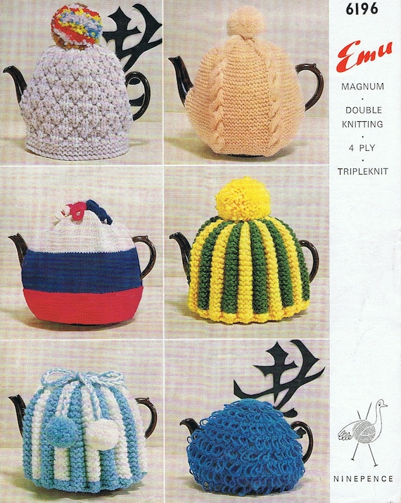 1960s Retro Tea Cosy Pattern 6 Knitting Patterns Tea Cozy Pdf Etsy