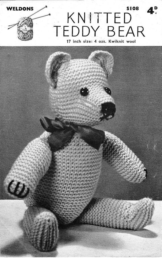 Classic Teddy Bear Knitting Pattern 1940s Vintage Pattern Pdf Etsy