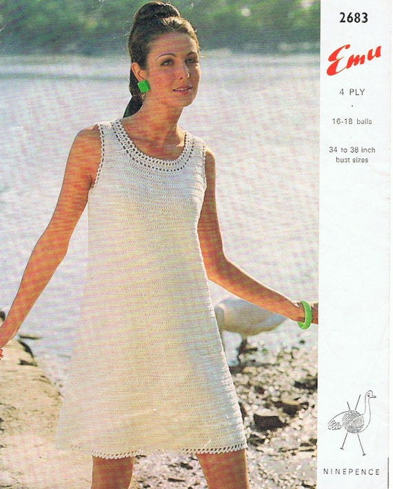 Classic Crochet Dress Pattern Pdf Vintage 1960s Simple And Etsy