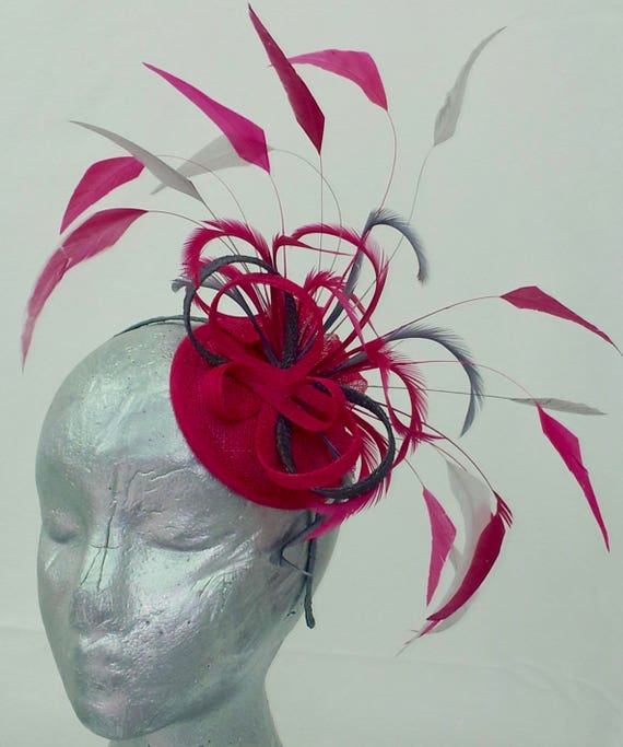df427c7f9d04a Raspberry pink and smoky grey fascinator