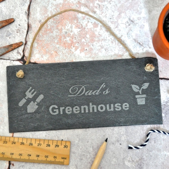 Personalised Greenhouse Slate Sign - Grandad/Dad Sign - Allotment Sign