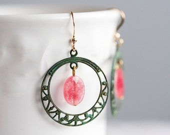 Pink Gemstone Hoop Earrings Patina Filigree Hoop Christmas Rose Drop Earrings Verdigris Dangle Earrings Patina Jewelry - E120