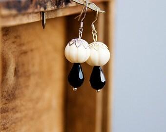 Black White Dangle Drop Earrings Silver Lace Ivory Pumpkin Bead Black Drop Delicate Graceful Jewelry - E285
