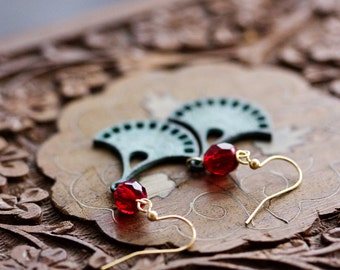 Patina Bohemian Earrings Red Bead Verdigris Tribal Dangles Filigree Boho Earrings Turquoise Gypsy Jewelry Ethnic Bohemian Jewelry - E332