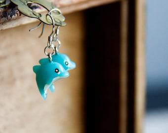 Blue Dolphin Earrings Cute Aqua Dolphin Dangle Earrings Sea Beach Jewelry - E267