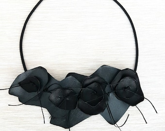 Leather Statement Necklace, Bib Statement Necklace, Leather Necklace, Contemporary Jewelry