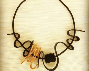 Leather Necklace, Leather Jewellery, Statement Necklace, Contemporary Jewellery, Trending, Asymmetrical Necklace