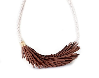 Leather Statement Necklace, Rope Necklace, Fringe Necklace, Bib Necklace