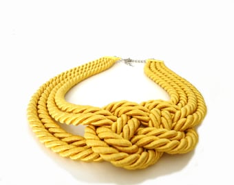 ON SALE - Yellow Rope, Nautical Statement Necklace