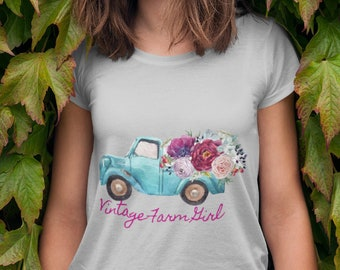 "Fluffy Layers ""Vintage Farm Girl ( blue truck)"" Women's T-Shirt"
