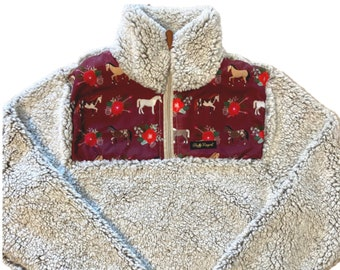 Fluffy Layers Women's Sherpa Fleece Jacket, Horses and Roses, Equestrian Clothing, Horse print jacket, horse hoodies for women