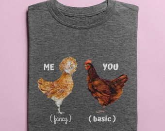 "Fluffy Layers ""You vs. Me"" Women's T-Shirt, Funny Chicken Shirt, Chicken Tee, Vintage Rooster Tee, Poultry Farm Tee, Chicken Lover Tee"
