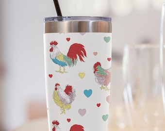 Fluffy Layers Chicken and Hearts Tumbler, Travel Mug 20oz, Mug with Chickens, Rooster Tumbler, Chicken Tumbler