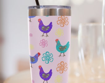 Fluffy Layers Crazy Chickens ( pink) Tumbler, Travel Mug 20oz, Mug with Chickens, Rooster Tumbler, Chicken Tumbler