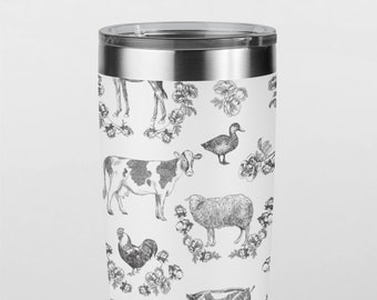 Fluffy Layers Black and White Farm Tumbler, Travel Mug 20oz. Mug with Farm Animals, Shabby Chic, Farmhouse Decor
