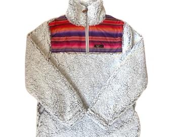 Fluffy Layers Women's Sherpa Fleece Jacket, Southwest Serape, Southwest