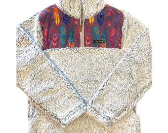Fluffy Layers Women's Sherpa Fleece Jacket, Southwest Feathers, Southwest Hoodie