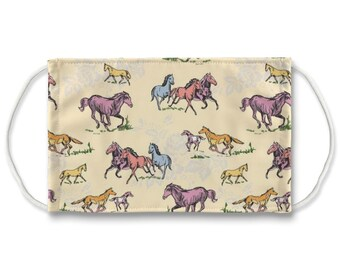 Fluffy Layers Face Coverings/ Masks for Kids & Adults — See the Adorable Animal and  Farm Themed Designs. Mask with Horses/ Horse Lover