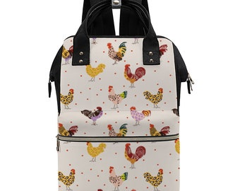 Fluffy Layers Chickens and Leopard Convertible Backpack / Handbag Multif-use Bag Ultra-Large Backpack Waterproof, Diaper Bag with Roosters