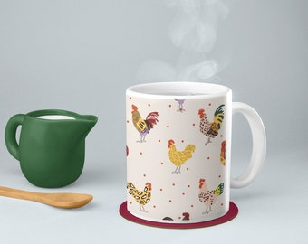 Fluffy Layers Chickens and Leopard Mug, mug with roosters, coffee mug with chickens