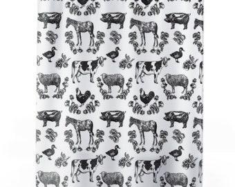 Fluffy Layers Black and White Farm Shower Curtains, Farmhouse Bathroom