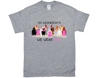 "Fluffy Layers ""On Wednesday's we wear Pink"" Women's T-Shirt"