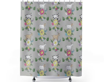 Fluffy Layers Floral Goat Shower Curtain Girl Bathroom Lover Decor Sweet Farmhouse Country Chic