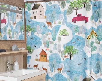 Fluffy Layers Country Days Shower Curtains, Farmhouse Bathroom