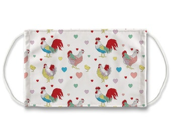 Fluffy Layers Face Mask/ Covering Kids & Adults — See the Adorable Animal and  Farm Themed Designs. Mask with Chickens / Mask with Roosters
