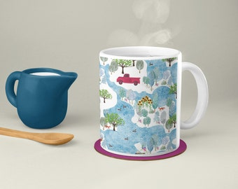 Fluffy Layers Country Roads, mug with truck, coffee mug farm animals
