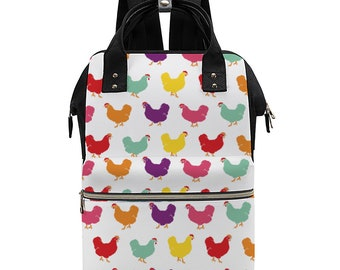 Fluffy Layers Rainbow Hens, Convertible Backpack / Handbag Multi-use Bag Ultra-Large Backpack Waterproof, Diaper Bag with Chickens