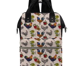 Fluffy Layers Rooster and Roses, Convertible Backpack / Handbag Multi-use Bag Ultra-Large Backpack Waterproof, Diaper Bag with Roosters