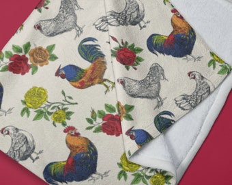 Fluffy Layers Rooster and Roses Super Plush Minky Blanket rooster decor, country hens, gift for chicken owner, chicken blanket