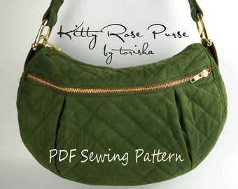 Kitty Rose Purse, PDF sewing pattern, purse pattern, hobo bag pattern, downloadable digital file, shoulder bag, zippered bag, diaper bag