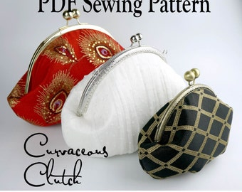 Curvaceous Clutch by Toriska, PDF sewing pattern, round frame clutch pattern, downloadable digital file, digital purse pattern, diy bag