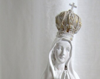 MADONNA WITH CROWN Our Lady Of Fatima Seawashed Jeanne D Arc Living French Nordic Shabby Chic Quiet Living