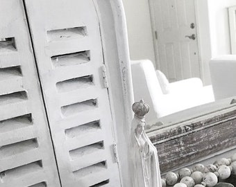 FRENCH  MIRROR With Shutters Seawashed Jeanne d Arc French Nordic Living Style Nordic Coastal Seaside Shabby Chic Bohemian Beach Home Decor