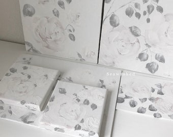 ROSES CALME De BLANC Pale White Roses Seawashed Shabby Chic French Nordic Jeanne d Arc Living Style