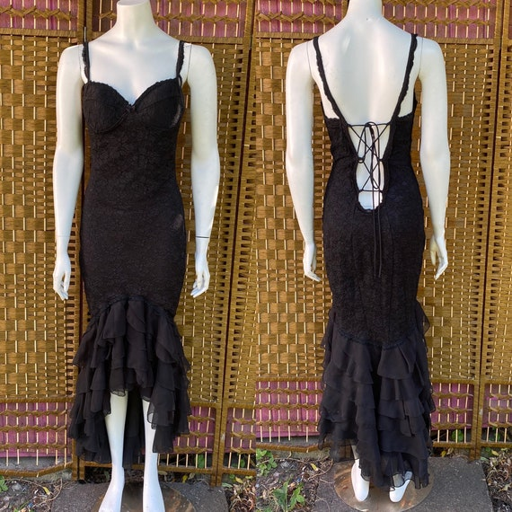Vintage late 80s early 90s black lace mermaid trum