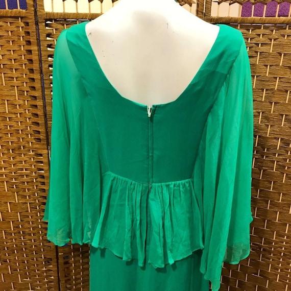 70s Jade Green Maxi Dress Sheer Chiffon Sleeves