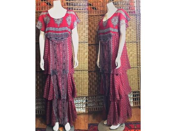Vintage 70s Ayesha Davar maxi long gauze dress ver