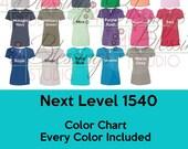 Next Level 1540 Color Chart Women 39 s Ideal V Color GuideEvery Color Digital File Shirt Color Chart V Neck Shirt Tee Mockup psd jpeg jpg