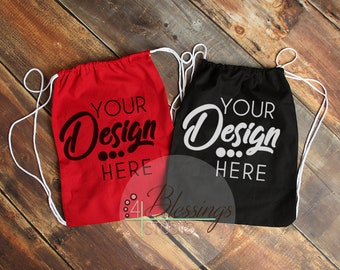 Download Free Drawstring Bag Mockup Red Cinch Backpack Template Mockup Natural Tote Mock Up Blank Tote Bag Photo Shopping Bag Mockup Flat Lay Stock PSD Template