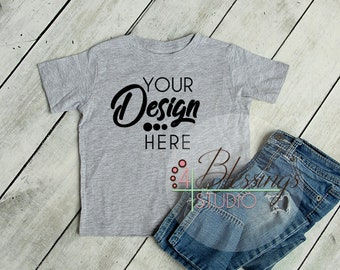Download Free Blank Heather Gray Kids T Shirt Mockup Gray Shirt Mockup Toddler Mockup Childrens Shirt Flat Lay Rustic Wood Kids Shirt Mockup Toddler Shirt PSD Template