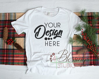 Download Free Christmas White TShirt Bella Canvas Mockup 3001 Unisex Shirt Flat Lay Winter Mockup Style Flat Lay Blank Shirt Photo Christmas Mock up PSD Template