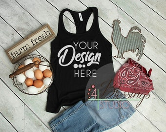 Download Free Black Tank Top Country Farm Flat Lay Next Level Mockup 1533 Tank Shirt Chicken Eggs Flat Shirt Mockup Farm Shirt Rustic wood Shirt Photo PSD Template