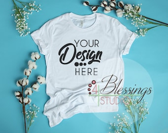 Download Free White TShirt Bella Canvas Mockup 3001 Unisex Shirt White T Shirt Flat Shirt Mockup Shirt Flat Lay Bright Cotton Flowers Top View Shirt Photo PSD Template