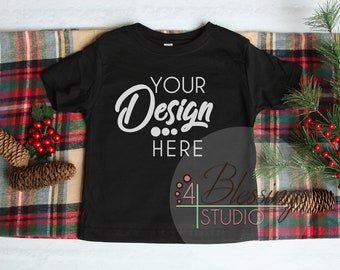 893ff7d39 Christmas Kids Shirt Mockup Black Childrens Flat Lay Winter Mock Up Styled  Flat Lay Rabbit Skins Blank Shirt Photo Tshirt Template