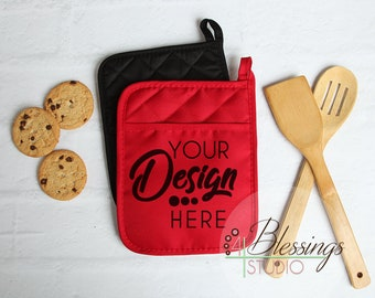 Download Free Potholder Mockup, Pot Holder Mock up, Kitchen Mockup, Pocket Potholder Flat Lay, Template, Farmhouse, Red Pot Holder, SVG PSD Template