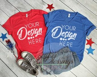 Download Free Bella Canvas Mockup Tshirt Mockup Red Blue V-Neck 3005 Unisex Navy Flat Shirt Mock up Styled TShirt Flat Lay Real Photo Patriotic July 4th PSD Template